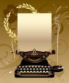 Raster version of vector old typewriter with gold laurels