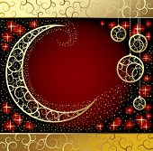 Raster version of vector Christmas & New-Year's card with a moon