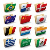 Set 2 of vector folders icons with world flags