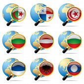 Vector zoom world flag icons with a globe