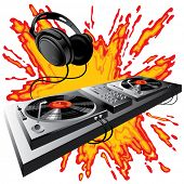 Vector image of DJ control panel on a fiery ground