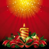 Vector greeting card with a candle