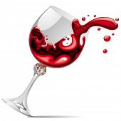 Imagem vetorial de vidro caindo com vinho tinto