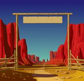 Vector illustration of a farm gate in the Wild West