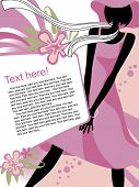 Vector fashion page with black silhouette of the girl in light-pink dress