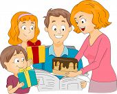 Illustration of a Family Celebrating Father's Day / Birthday