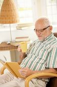 Elderly man reading book and having tea in armchair at home.?