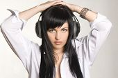 Pretty young girl with headphones