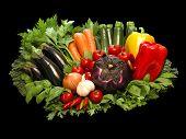 Vegetables Still Life On Black Bacground