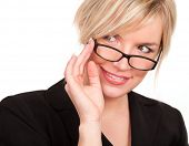 Smiling blonde with eyeglasses portrait