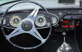 MOSCOW, RUSSIA - APRIL 24: Inside vintage car Peugeot at Vintage car rally