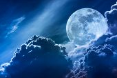 Super Moon. Nighttime Sky With Clouds And Bright Full Moon With Shiny. poster