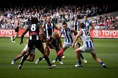 MELBOURNE - APRIL 2: Action from Collingwood's win over North Melbourne  at Etihad Stadium Docklands