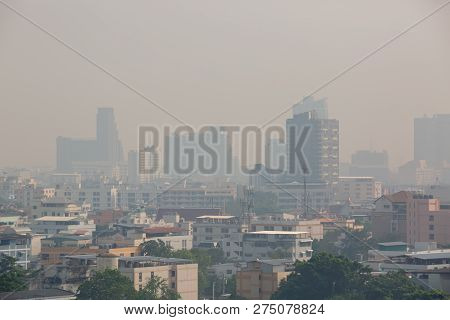 Office Building Under Smog In