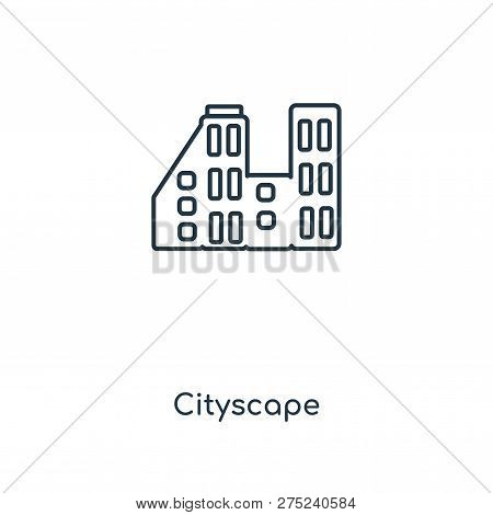 poster of Cityscape Icon In Trendy Design Style. Cityscape Icon Isolated On White Background. Cityscape Vector