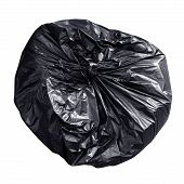 Garbage Plastic Bag Black Isolated On White Background, Bag Plastic Of Garbage Waste, Plastic Bag Fo poster