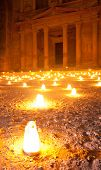 walk by night to Petra Treasury with candle illumination