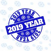 2019 Year Round Stamp Seal On Winter Background With Snowflakes. Blue Vector Rubber Imprint With 201 poster