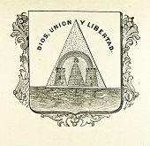 Wappen der Republik Nicaragua. Illustration von Alwin Zschiesche, veröffentlicht am