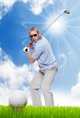 Male golfer on a golf course.