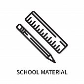 School Material Icon Isolated On White Background. School Material Icon Simple Sign. School Material poster