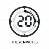 The 20 Minutes Icon Isolated On White Background. The 20 Minutes Icon Simple Sign. The 20 Minutes Ic poster