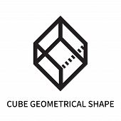 Cube Geometrical Shape Icon Isolated On White Background. Cube Geometrical Shape Icon Simple Sign. C poster