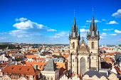 Aerial View Of Church Of Our Lady Before Tyn At Prague Old Town Square Opposite Prague Astronomical  poster