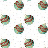 Seamless tiling Christmas texture with baubles