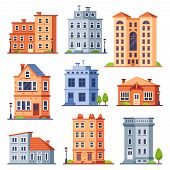 Living House Buildings. Cottage Houses Exterior, Condominium Apartment Building And Modern Cottages  poster