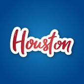 Houston - Hand Drawn Lettering Name Of Usa City. Sticker With Lettering In Paper Cut Style. Vector I poster