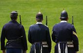 picture of guardsmen  - Guards at Mackinac fort getting ready for shooting - JPG