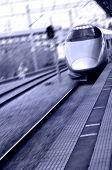 High speed bullet train in Japan in purple color tone