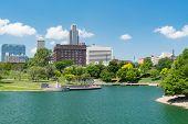 City Skyline Of Omaha Nebraska From The Heartland Of America Park poster