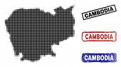 Halftone Dot Vector Abstract Cambodia Map And Isolated Black, Red, Blue Scratched Stamp Seals. Cambo poster