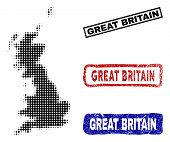 Halftone Vector Dot Abstract Great Britain Map And Isolated Black, Red, Blue Scratched Stamp Seals.  poster