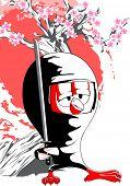 Постер, плакат: Мультфильм ниндзя тетка с Сакура на фоне