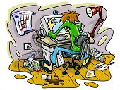 hacker working on computer in jumble room vector illustration