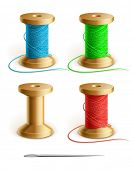 set reel with thread and needle vector illustration isolated on white background