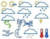 Weather Symbol Collection In Neon