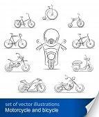 set of bicycles and motorcycles vector illustration isolated on white background