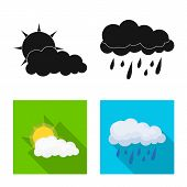 Vector Design Of Weather And Climate Symbol. Collection Of Weather And Cloud Stock Vector Illustrati poster