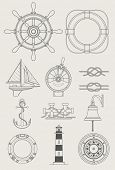 Meer Schiff set symbol vektor-illustration