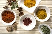 variety of spices and herbs - curry, sage, turmeric, cayenne pepper, nutmeg, saffron, star anise, dr