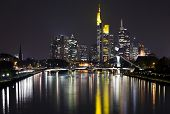 financial district of Frankfurt and Main river at night