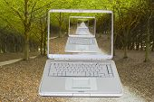 Lap Top On A Country Road