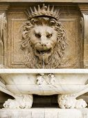 fountain at the Palazzo Pitti, Florence, sculpted as a lion's head with a marble basin