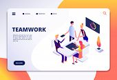 Workspace Isometric Landing Page. People Team Work In Office. Partnership, Business Process Persons  poster