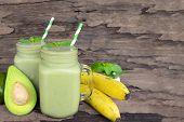 Avocado Mix Banana Smoothies Green Colorful Fruit Juice Milkshake Blend Beverage Healthy High Protei poster