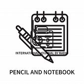 Pencil And Notebook Icon Isolated On White Background. Pencil And Notebook Icon Simple Sign. Pencil  poster